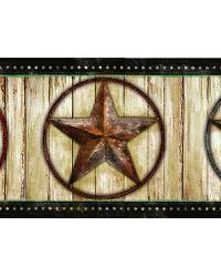 Theo Black Weathered Barn Star Border by  Brewster Wallcovering