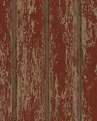 Brax Red Faux Weathered Clapboards Wallpaper by  Brewster Wallcovering