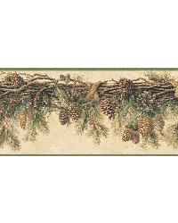 Wyola Olive Pinecone Forest Border by