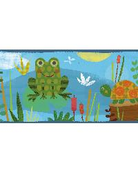 Kermis Blue Frog Marsh Toss Border by