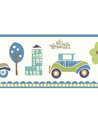 Gatsby Blue City Scape Trail Border by