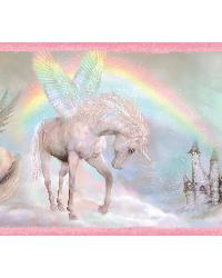Farewell Pink Unicorn Dreams Portrait Border by  Brewster Wallcovering