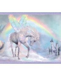 Farewell Blue Unicorn Dreams Portrait Border by  Brewster Wallcovering