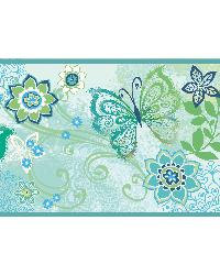 Fantasia Blue Boho Butterflies Scroll Border by