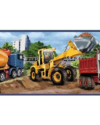Elbow Grease Yellow Heavy Machinery Portrait Border by  Brewster Wallcovering