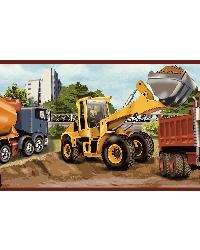Elbow Grease Orange Heavy Machinery Portrait Border by  Brewster Wallcovering