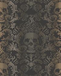 Luther Sand Skull Modern Damask Wallpaper by