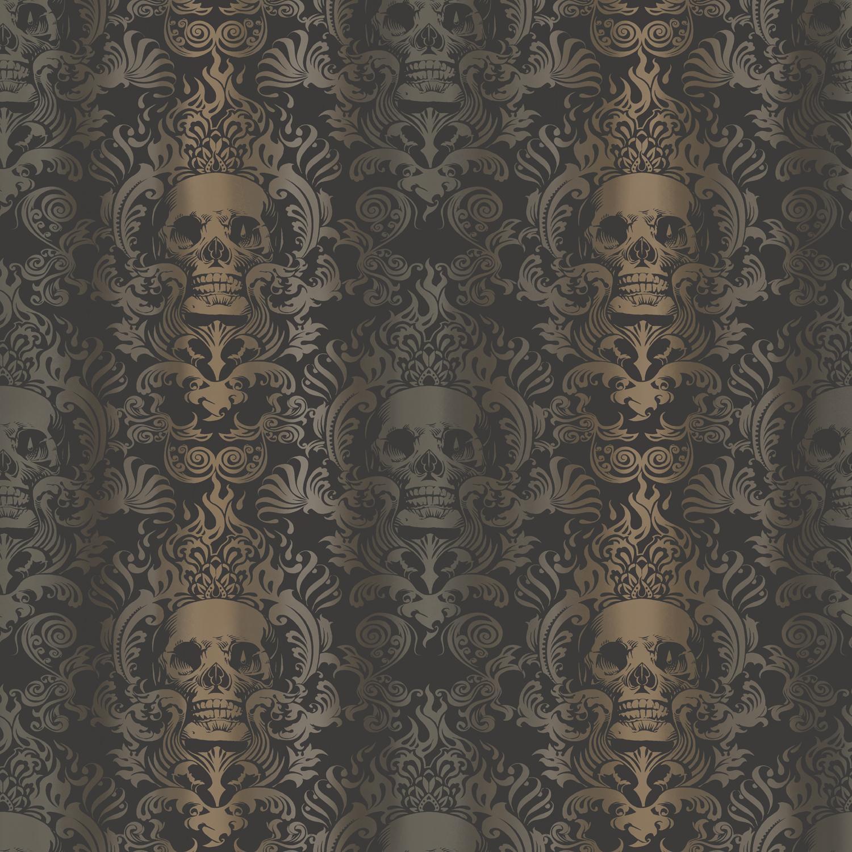 Brewster Wallpaper Luther Sand Skull Modern Damask