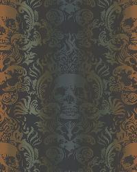 Luther Orange Skull Modern Damask Wallpaper by