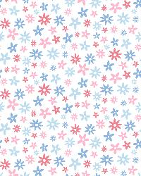 Delilah Blue Mod Flower Toss Wallpaper by