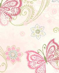 Fantasia Pink Boho Butterflies Scroll Wallpaper by