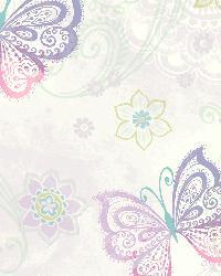 Fantasia Purple Boho Butterflies Scroll Wallpaper by