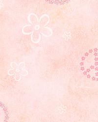 Joplin Pink Peace Flowers Toss Wallpaper by
