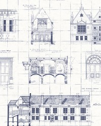 Estcourt White Blueprint Wallpaper by