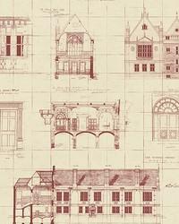 Estcourt Maroon Blueprint Wallpaper by