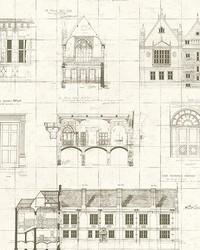 Estcourt Brown Blueprint Wallpaper by