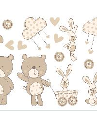 Bear And Boo Neutral Wall Stickers by  Brewster Wallcovering