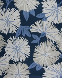 Blue Modern Floral Designs Fabric  Hiatus Chambray