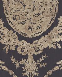 Abbeywood Damask Gilded Ebony by  Ralph Lauren Wallpaper