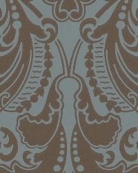 Gwynne Damask Peacock by  Ralph Lauren Wallpaper